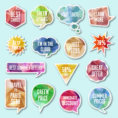 Vector speech bubble, tags, banner set. Colorful shoping business design elements.