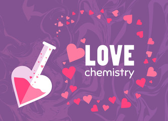 Love chemistry. Set of flying hearts. Test tube with love fluid. Romantic greeting card for Happy Valentines Day design. Love poster design. Unique chinese, turkish, texture.Symbol of love. Cute style