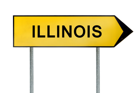 Yellow street concept sign Illinois isolated on white