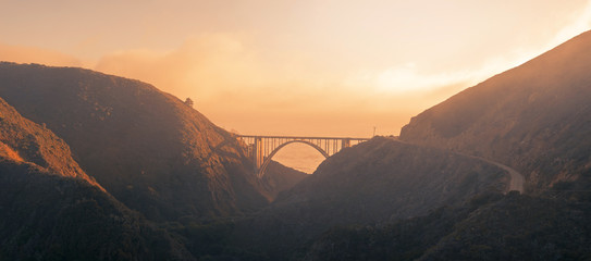 Panorama of a bridge on Pacific coast highway route 101