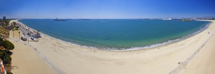 Panoramic view of a beach and ocean in Long Beach, California