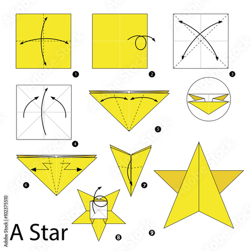Step By Step Instructions How To Make Origami A Star Stock Image And Royalty Free Vector
