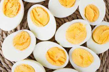 sliced hard boiled eggs