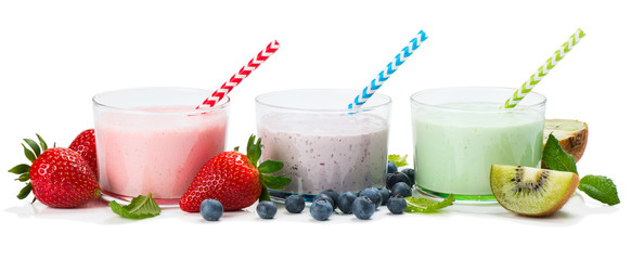Berry yogurts in the glasses