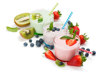 Milk cocktails with fresh fruits.