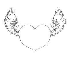 Illustration of a cartoon heart with wings.