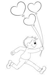 Illustration of a cartoon boy running with balloons in the form of heart