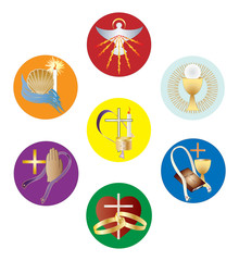Symbols of the seven sacraments of the Catholic Church. Color vector