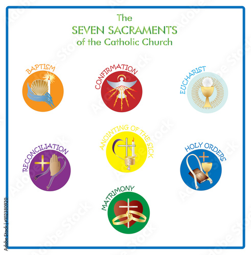 Symbols Of The Seven Sacraments Of The Catholic Church Color Vector