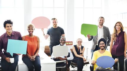 Business Team Holding Speech Bubble Sign Concept