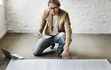 Businessman Design Laptop Technology Copy Space Concept