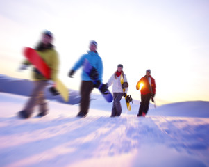 People Snow Boarding Winter Mountain Leisure Sport Concept