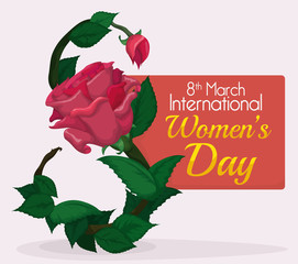 Leaves, Rose and Bud forming Number Eight for Women's Day Commemoration, Vector Illustration