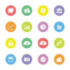 Colorful simple flat icon set 4 on circle - for web design, user interface (ui), infographic and mobile application