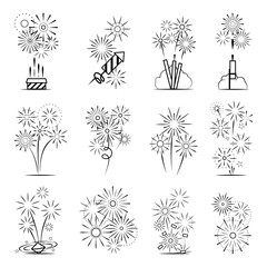 Firework icons set. Black line celebration fireworks icons on white background. Vector illustration