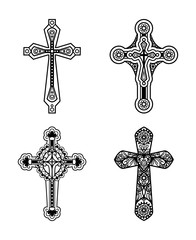 Vector line black ornate christian cross icons set.  Vector illustration