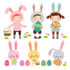 Vector set of characters and icons on the Easter theme in cartoo