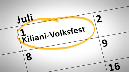 Kiliani folk festival first of July in german language