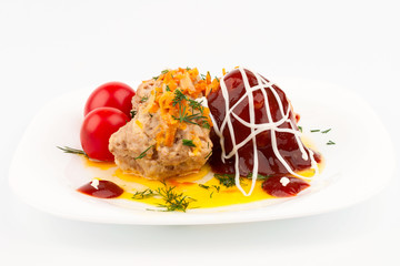 Meat balls with tomato sauce filled.