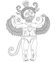 Vector hand drawn graphic monochrome illustration of weird creature