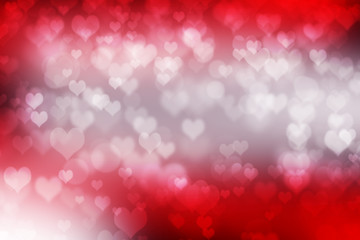 Abstract illustration heart bokeh light on red background