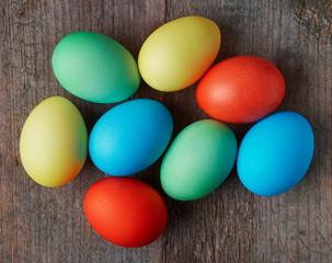 Easter eggs in a wicker basket