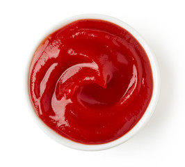 Ketchup or tomato sauce on white background