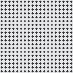 Seamless texture of black crosses on a white background, vector design wallpaper