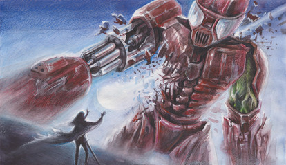 Fantasy Watercolor Landscape -  Big Red Robot fights with a person with magical powers - performed by watercolor and color pencils
