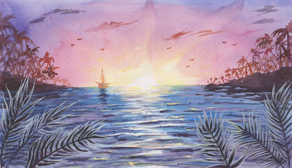 Watercolor Sea / Ocean Landscape with Sunset or Sunrise