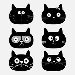 Cute black cat head set. Funny cartoon characters. White background. Isolated. Flat design.