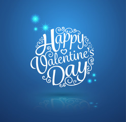 Happy Valentine's Day, lettering Greeting Card design circle text frame on shadows.Vector illustration.