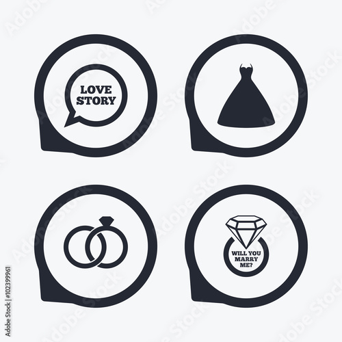 Wedding Dress Icon Bride And Groom Rings Symbol Stock Image And
