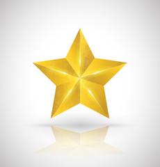 Gold star vector 3D style. Vector illustration...