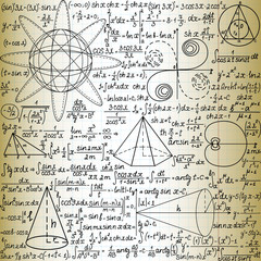 "Vector seamless pattern with mathematical figures and formulas, ""handwritten on the old copybook paper"""