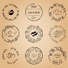 grungy postage stamps for valentine day - vector