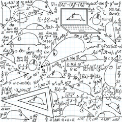 Mathematical vector seamless pattern with funny mice and trigonometry formulas handwritten on the copybook paper