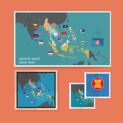 South East Asia map - vector
