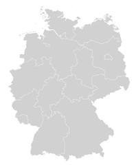 Karte von Deutschland - Grau (einzeln)