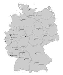 Karte von Deutschland - Städte (einzeln)