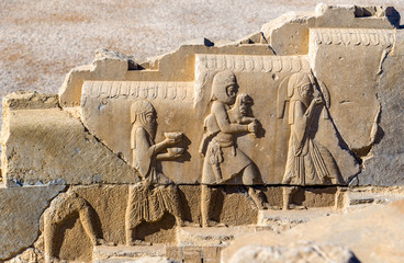 Ancient persian bas-relief in Persepolis - Iran