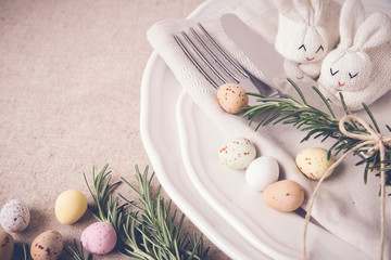 Easter table setting for lunch, dinner menu concept