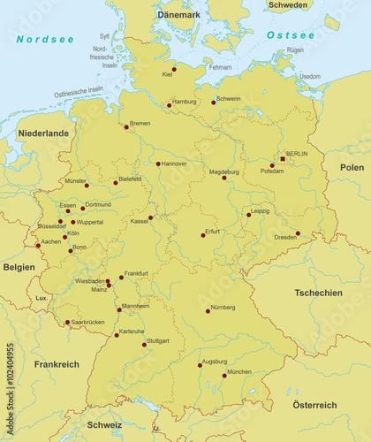 Deutschland Karte Städte.Karte Von Deutschland Städte Detailliert Stockfotos Und