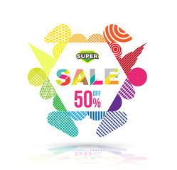 Modern hexagon badge sale. Vector illustration. Can use for promotion advertising.