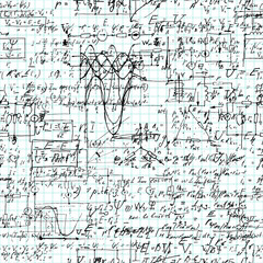 Seamless pattern of mathematical operation and equation.