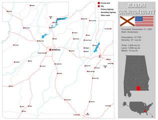 Large and detailed map and infos about Covington County in Alabama.
