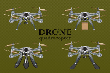 Remote aerial drone with a camera taking photography or video recording , the movement of goods, the ability to float on water and snow skiing, vector illustration.
