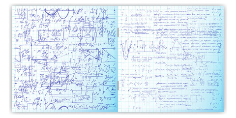 Handwriting written text. Calligraphy text on a grid copybook paper. Open exercise book. Archives, science, geometry, math, physics, electronic engineering subjects. Natural writing style.