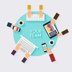 Business teamwork. Creative team desktop top view with tablets,