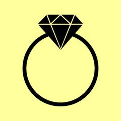 Diamond sign. Flat style icon